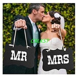 Wholesale Mr And Mrs Wedding Sign Black Vintage Wooden Signs Chair Backs Party Photography Props Good Quality Brand New