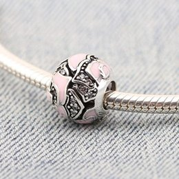 Wholesale Authentic Pink Pattern Paint Pandora Charms Big Hole Bead Sterling Silver Diy Jewelry Accessories For European Chamilia Bracelets