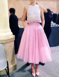 Amazing Two Pieces Pink Prom Dresses 2016 A Line Crew Neck Top Beading Tea Length Prom Gowns
