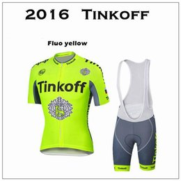 Tinkoff Saxo 2016 New Arrival Cycling Jersey Set Fluo Yellow Short Sleeve With Padded Bib Trousers Ultra Breathable Bike Wear XS-4XL