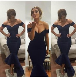 New Arrival Mermaid Navy Blue Sexy V neck Off The SHoulder Mermaid 2015 Prom Dresses Hi Lo Sexy Long Evening Dress Party gowns