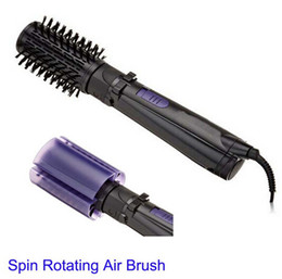 Wholesale 2015 New Arrival Ua Black Curling Curling Iron Hair Roller Electric Hot Spin Air Brush Dryer Ceramic Curler Inch Rotating Styling Tool