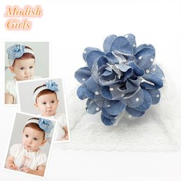 Wholesale 2016 Teenagers Headbands Baby Girls Flower Design Hairbands Cute Girls Baby Infant BLue Color Tulle Flower Lace Headband Resale ad