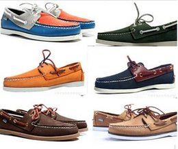 Wholesale women men suede sperrys top sider loafers boat shoes mens blue suede boat genuine handmade loafers leather shoes