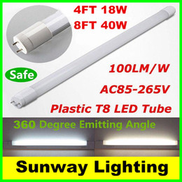 Wholesale 360 degree Emitting T8 plastic LED tube lights ft W ft W LED light tube lamps frosted cover CE UL AC V