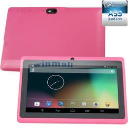 Dual core tablet pc en Ligne-Allwinner A33 Quad Core Q88 Q8 Tablet PC double caméra de poche écran capacitif 7inch Android magasin 4.4 512MB 4Go Wifi OTG Google play