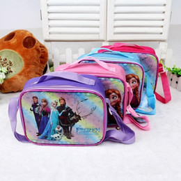 hot sale New 4 Style frozen cooler bag, frozen cartoon shoulder bag oblique collapse, frozen printed PVC material girl lunch bag