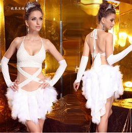 Wholesale White feather Latin dance dress high grade nail bead sexy backless skirt dance dress women Latin costume white colors Prom Dresses