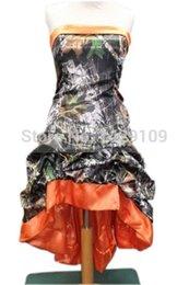 2017 sin tirantes damas de alta-baja de vestir Camo vestidos de dama de honor sin tirantes de alta y baja de encaje con encaje Camo Forest Formal vestidos 2015 por encargo sin tirantes damas de alta-baja de vestir limpiar
