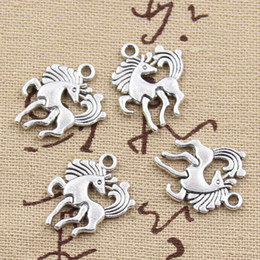 Wholesale 120pcs Charms horse unicorn mm Antique Zinc alloy pendant fit Vintage Tibetan Silver DIY for bracelet necklace
