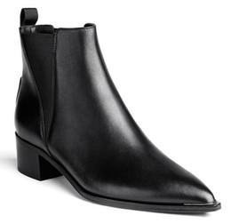 Wholesale High Quality Fashion Acne Studios Jensen black Chelsea boots pointed toe angular shaped contrasting elastic shoes