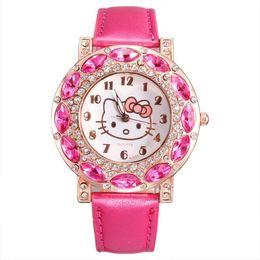 Wholesale Hello Kitty Design Crystal Rhinestone Leather Watches Women Quartz Analog Wristwatch For Ladies Clocks Best Gift