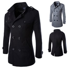 Wholesale 2014 Casual Double Breasted Coat Men British Style Stand Collar Slim Fit Long Trench Coat Men Mens Wool Pea Coat Manteau Homme