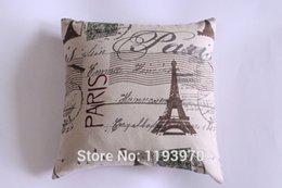 Wholesale new Antique Paris La Tour Eiffel Linen and cotton Pillow Case Decor Cushion Covers bolster Case