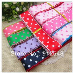 Wholesale 7 inch mm Printed Three Dots Crochet Grosgrain Ribbon yards roll color mix MMsd010