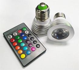 New 3W LED RGB Bulb 16 Color Changing 3W LED Spotlights RGB led Light Bulb Lamp E27 GU10 E14 MR16 GU5.3 with 24 Key Remote Control
