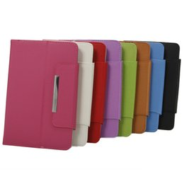 Wholesale 7 quot Universal Vertical PU Leather Case with Invisible Aluminum Magnetic Button for Tablet PC Blue SKU