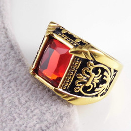 Wholesale Antique Flower Patern Square Stone Dinner Ring Gold Plated L Stainless Steel for Men and Women SR00773