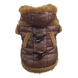 Купить Онлайн Большие костюмы для собак-Большая маленькая собака сгущает пальто хлопка Хорн Кнопка Pet Puppy куртка костюмы Одежда