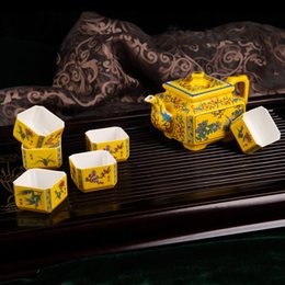 Wholesale-Vintage yellow porcelain tea set cup gift home supplies