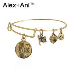 Wholesale Alex Ani Bangles My Love Is Alive Gold Charms Vintage Antiqued Style Expandable Steel Wire Bracelets Pulseiras Fast Shipping AA201423