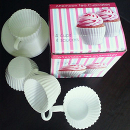 Wholesale Silicone Tea Cake Moulds - Environmentally friendly 4 Cup 4 Saucers Boxed Silicone Cupcake Molds Baking Cakes Muffin Mould Tea Cup Free Shipping