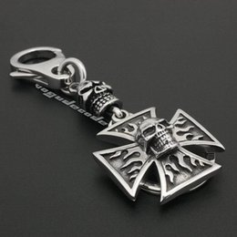 Unique 316L Stainless Steel Flame Skull Mens Biker Rocker Keychain 6R002KC