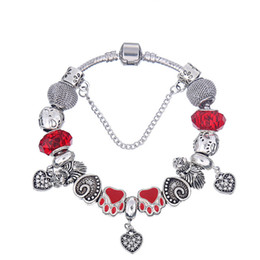 Elegant Charm Bracelets with Red Faceted Crystal Murano Glass Beads & Heart Dangles Fashion Snake Chain Bangle Bracelets for Women BL122