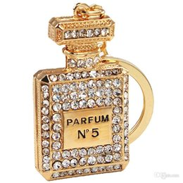 Wholesale-Fashion Perfume Fragrance Bottle Car Key Chain 18K Gold Plated Rhinestone Key Ring for Women Free Shipping