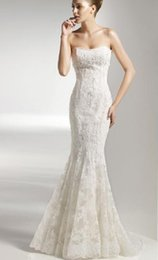 Wholesale Mermaid dresses strapless open back wedding dresses high quality beaded applique vintage ace bridal gowns