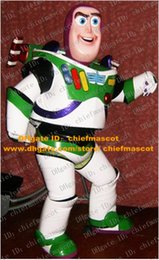 Wholesale Cool White Green Buzz Lightyear Mascot Costume Mascotte Toy Story Buzz Light Year With Blue Eyes Happy Face No Free Ship