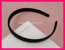 Wholesale 10PCS mm Black Satin Fabric Covered Plain Plastic Hair Headbands with black velvet back at BARGAIN for BULK