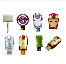 Wholesale 2015 New Hot The Avengers LED Flash GB USB Flash drive Iron Man Hulk Hero Captain Memory Drive Stick Pen Thumb USB flash disk