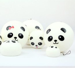 Wholesale 2015 new hot sell Jumbo Squishy Buns Bread Charms Panda Shape Squishies Cell Phone Straps Price Q0616