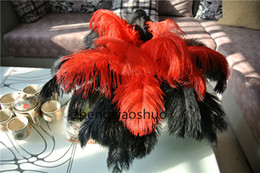 100pcs  12-14inch 30-35cm black and red Ostrich Feather plumes for wedding centerpiece feather decor christmas decor