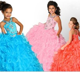 Wholesale Kids Pink Corset - Custom Make Pageant Dresses For Little Girls Ball Gowns Beaded Crystal Organza Puffy Long Corset Back Kids Beauty Pageant Dresses MG06