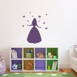 Princess Wall Decal with Butterflies Vinyl Wall Art Children Wall Stickers for Girls Room Decior
