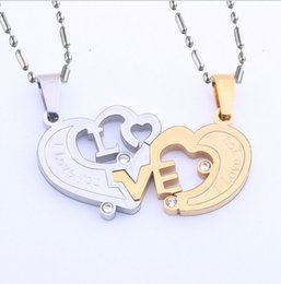 Wholesale LOVE heart shaped crystal lovers pendant necklace Titanium steel couples necklace on valentine s day gift distribution chain