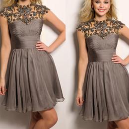 Tamaño más vestidos de novia de Homecoming 2015 Jewel cuello moldeado cristalino de la gasa de plata grises cortos Prom Vestidos formales Vestidos de fiesta