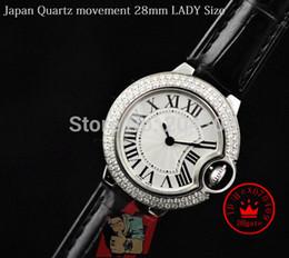 New Ladies Japan Quartz Movement Watch Stainless steel Diamond Bezel Black Leather Strap Women's Fashion Wrist Watches