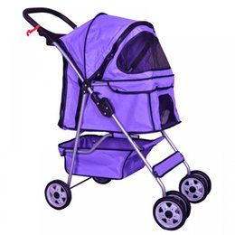 Wholesale 4 Wheels Pet Stroller Cat Dog Cage Stroller Travel Folding Carrier
