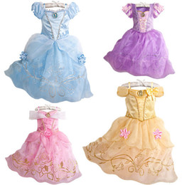 Wholesale New baby girls dress Chiffon Princess Dress Belle Snow White Rapunzel Aurora Cinderella Princess Dress girl s halter dresses