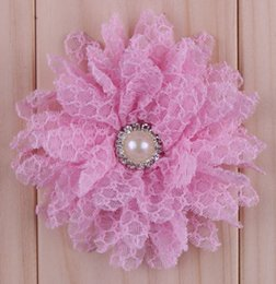 Chic Multilayer Lace Mesh Flowers With Pearl Rhinestone Artificial Flatback Fabric Tulle Flowers Hair Accessories Wedding Decoration Flower