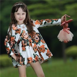 2016 Autumn Child Girls Clothing Set With Dresses And Flower Coat Children Outfits For Kids Clothing CS80727-1L