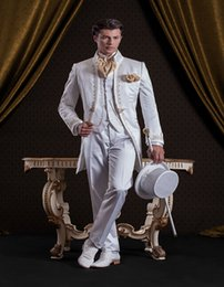 Wholesale 2016 New Groom Tuxedos Slim Fit Best Man Suits Groomsmen Baroque style Evening Suits decorate man s suit Jacket Pants vest