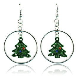 High Quality Charms Earrings Fashion Dangle Rhinestone Christmas Tree Circles Earrings For Women Christmas Gifts Jewelry