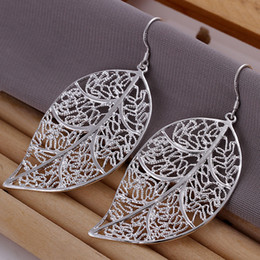 Brand new sterling silver plated Hanging leaf earrings DFMSE128,women's 925 silver Dangle Chandelier earrings 10 pairs a lot