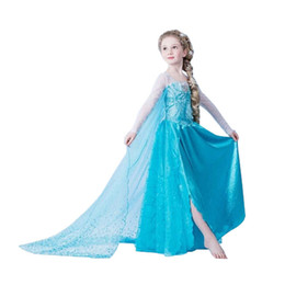 Wholesale Hot Selling Frozen Girls Ball Gown Dresses with Blue Cape Veil Beautiful Princess Lace Cosplay Elsa Dresses Fashion Kids Clothing Dropship