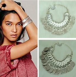 Turkish Fashion Vintage Style Handmade Boho Coin Bracelet Metal Loop Plates Festival Costume