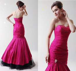 Wholesale Cheap Sexy New Years Dresses - 2016 Popular New Year Fuchsia Mermaid Evening Dresses Sweetheart Beaded Ruffles Zipper Simple cheap Prom Dress fORMAL Wear Wedding Party WWL